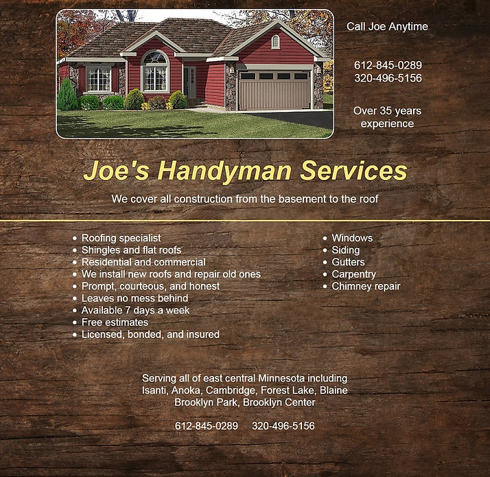 Sample webpage for Joes Handyman Services