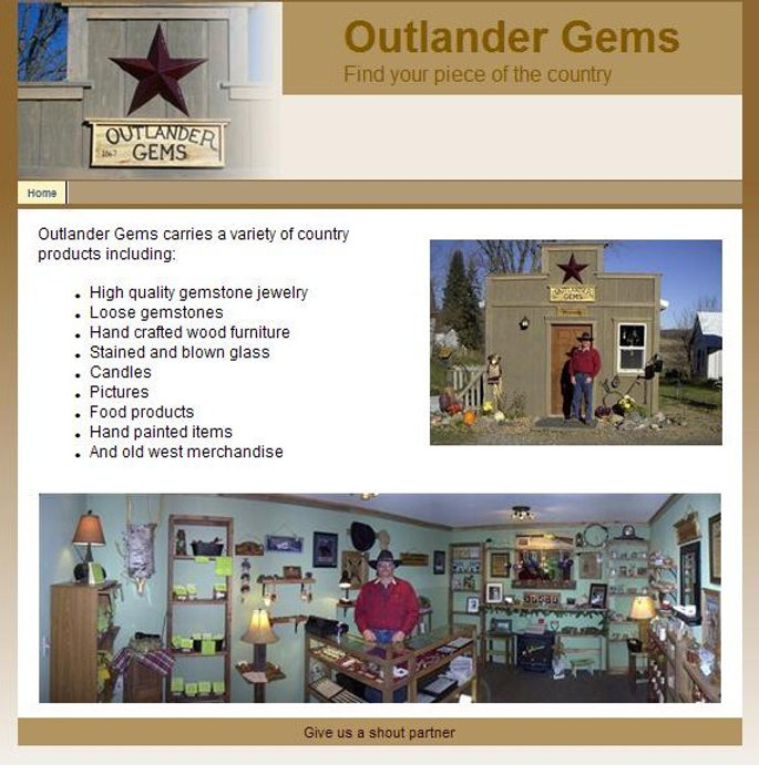 Sample webpage for Outlander Gems owned by Dean Larson