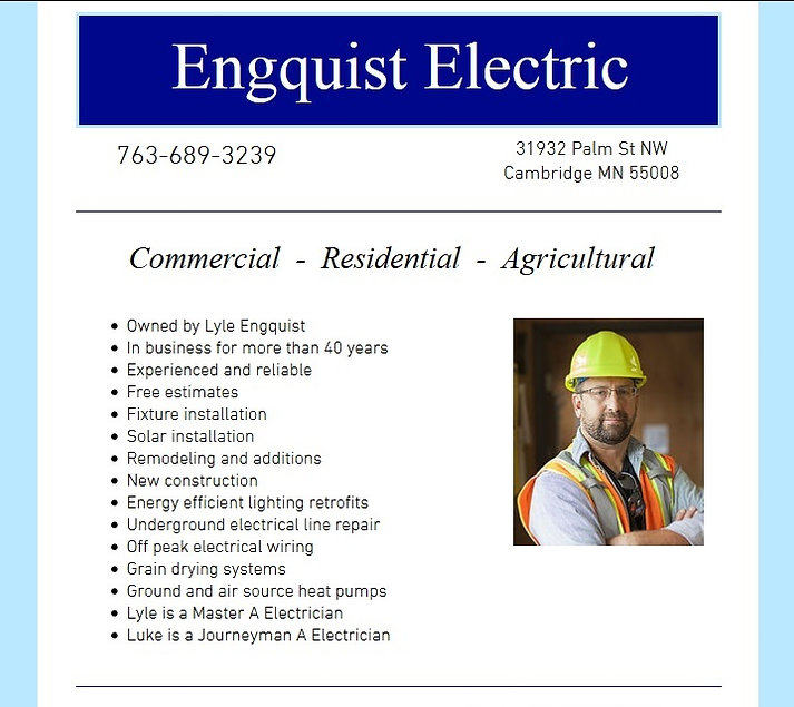 Sample webpage for Engquist Electric in Cambridge MN