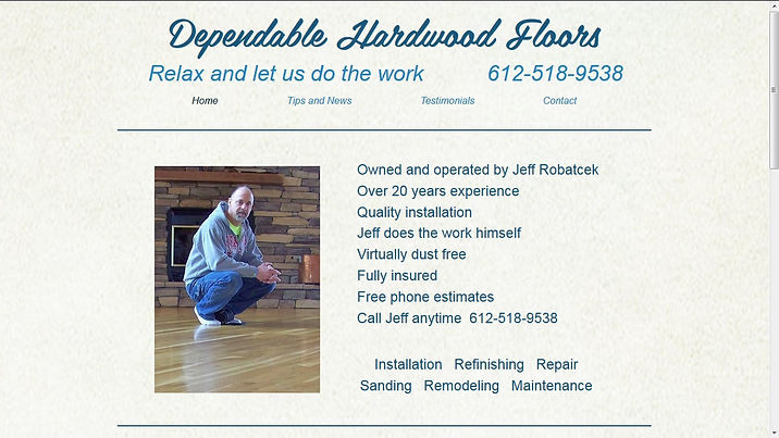 Sample webpage for Dependable Hardwood Floors