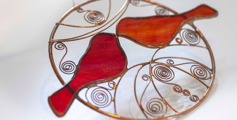 Red Kissing Birds in Brass Hoop