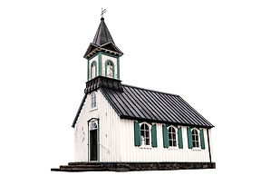 Old scandinavian church isolated on whit