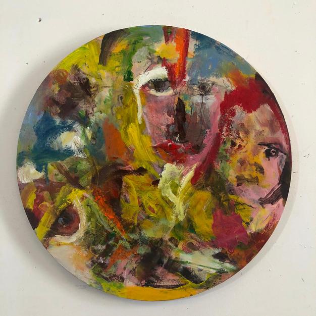 three of us, acrylic & oil