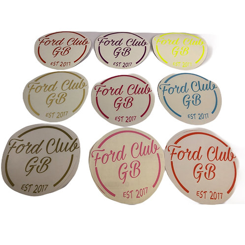 Ford Club  GB  Est  Decals No Website  text  4 Sizes