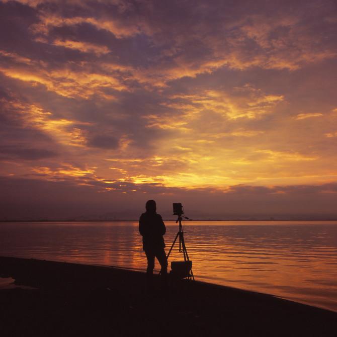 琵琶湖での撮影風景