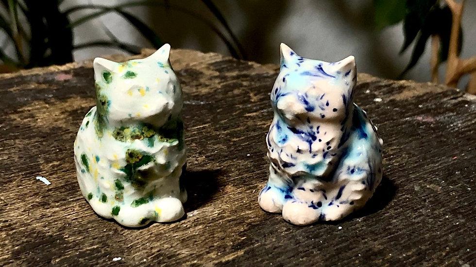 Pair of Tiny Glazed Ceramic Cats