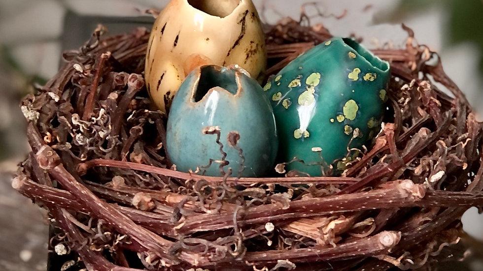 Handmade Ceramic Eggs (nest of 3) B