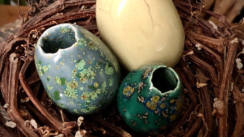 Handmade Ceramic Eggs (nest of 3) C