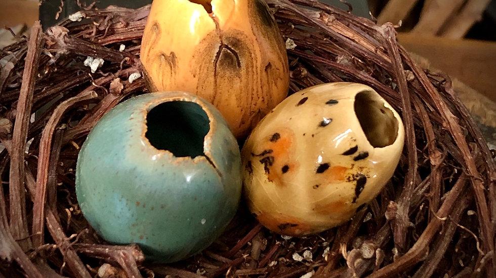 Handmade Ceramic Eggs (nest of 3) A