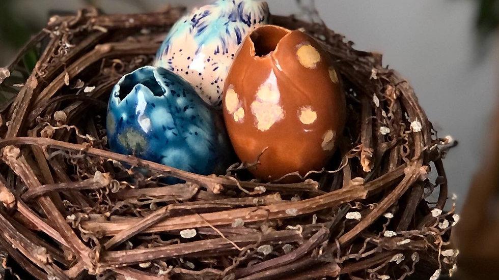 Handmade Ceramic Eggs (nest of 3) D