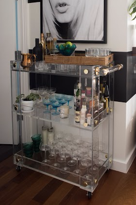 "Acrylic ""Button Line"" Deluxe Bar Cart with Brass"