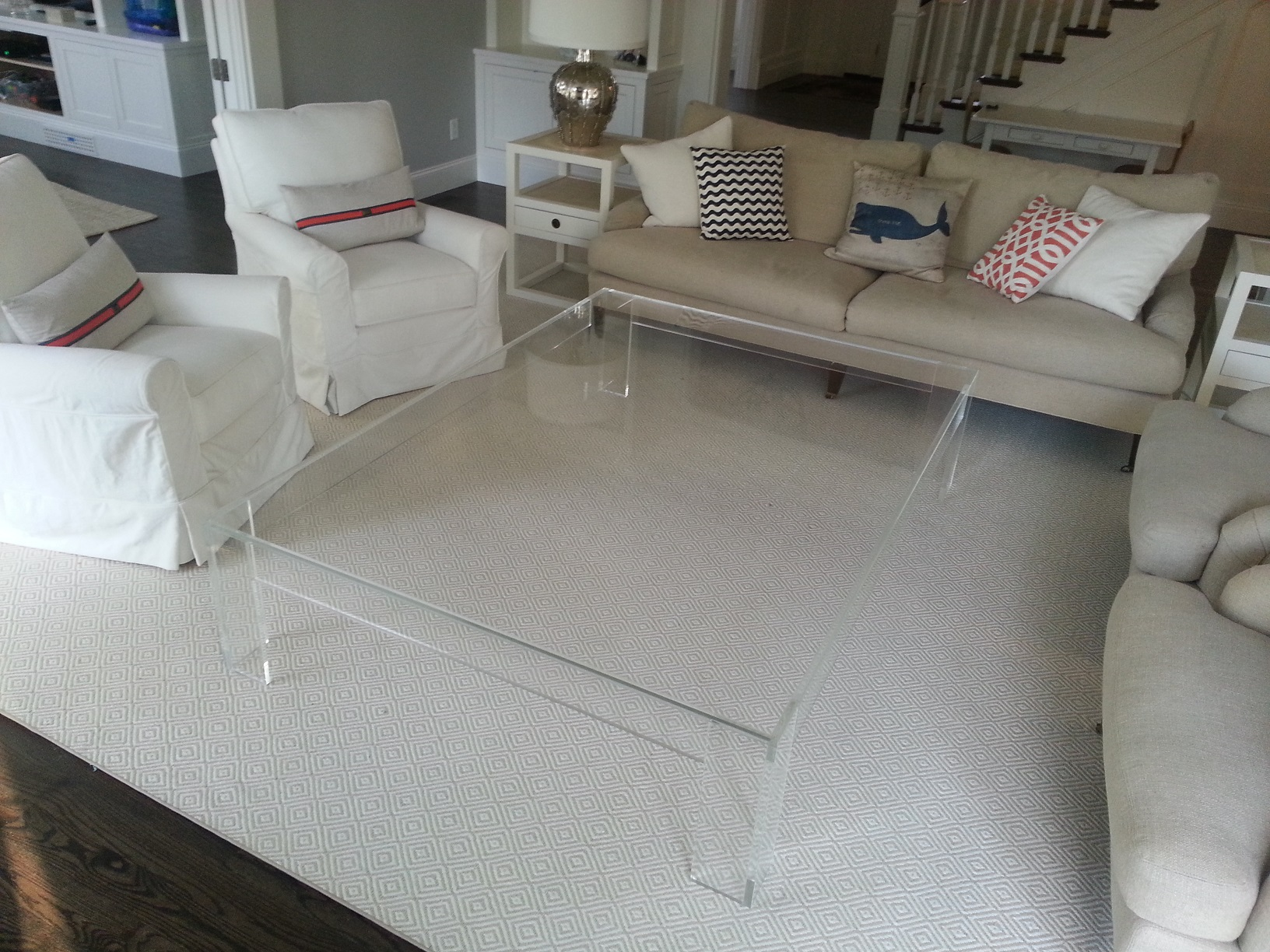 Coffee table_acrylic_Lucite_flange_large_60 inch sq