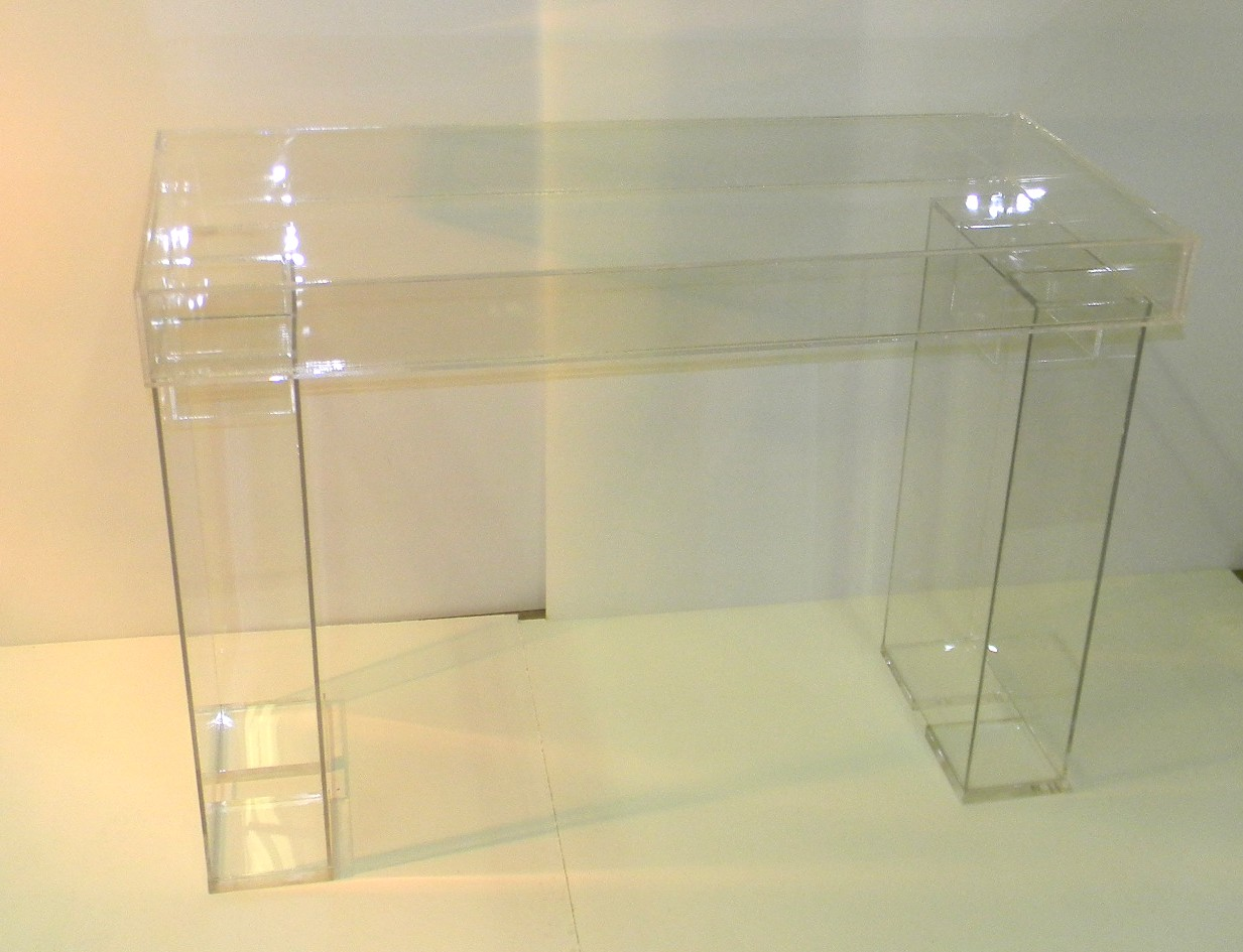 Desk-lucite-modular-bridal table- clear-ghost desk-display