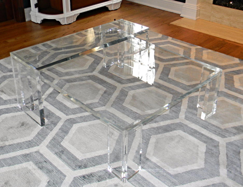 Acrylic Square Coffee Table with Sliding Riser 1