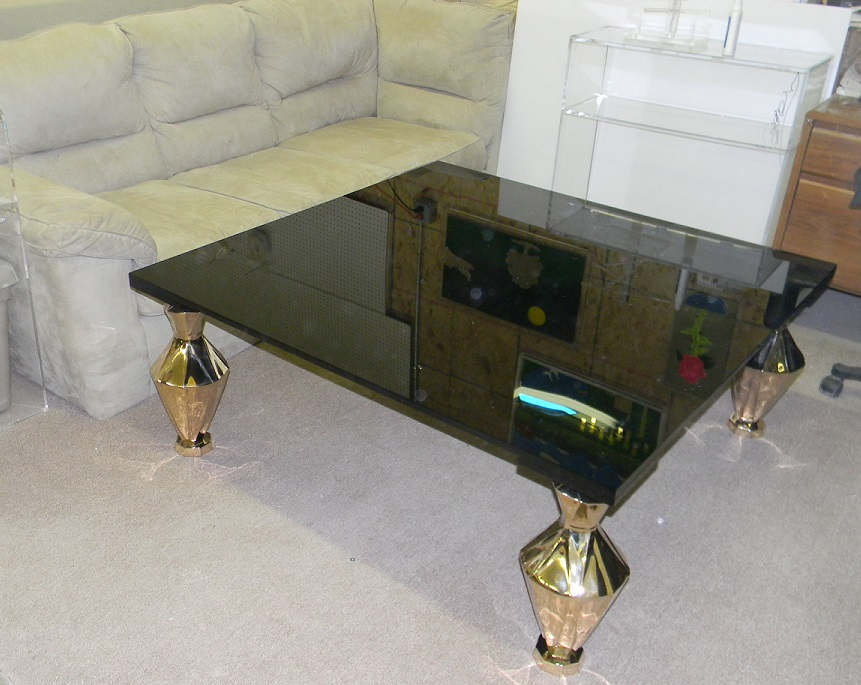Black Acrylic Table with Brass Legs