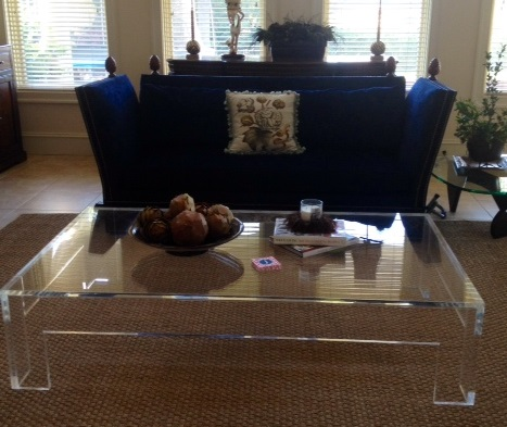 Coffee table_acrylic_Lucite_flange_ 50 inch sq
