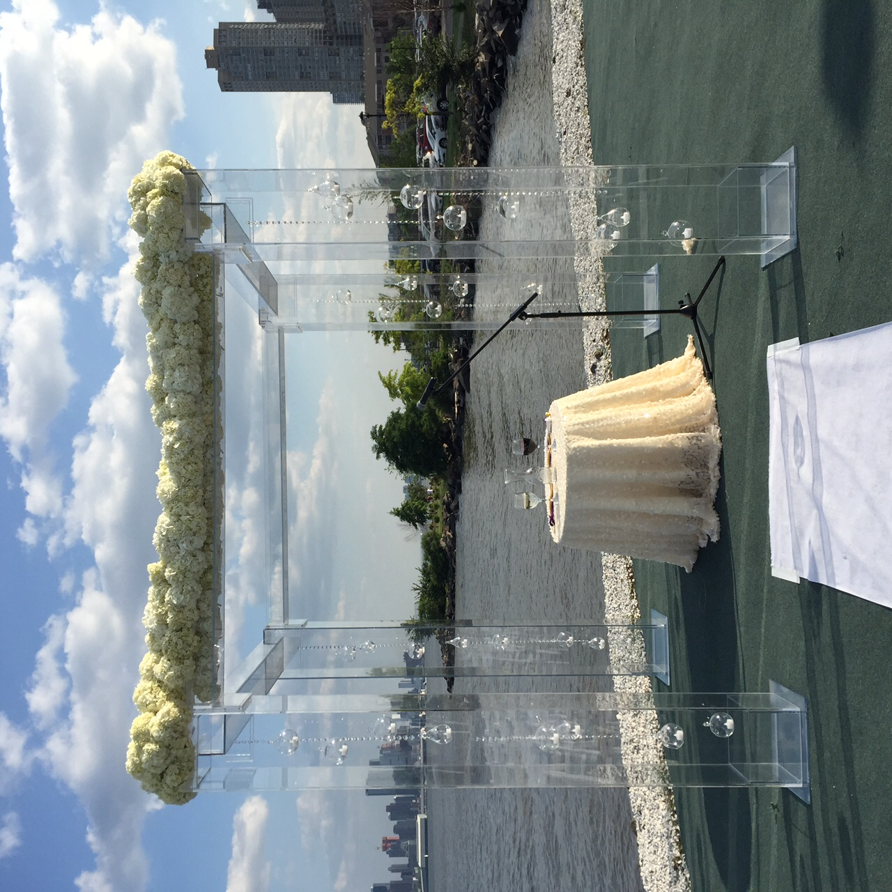 Chuppah-lucite-acrylic-front view-waterside restaurant decorated