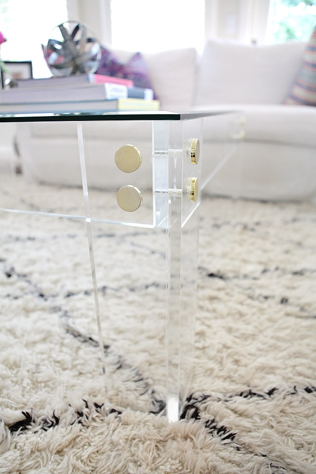 Acrylic coffee table frame with gold