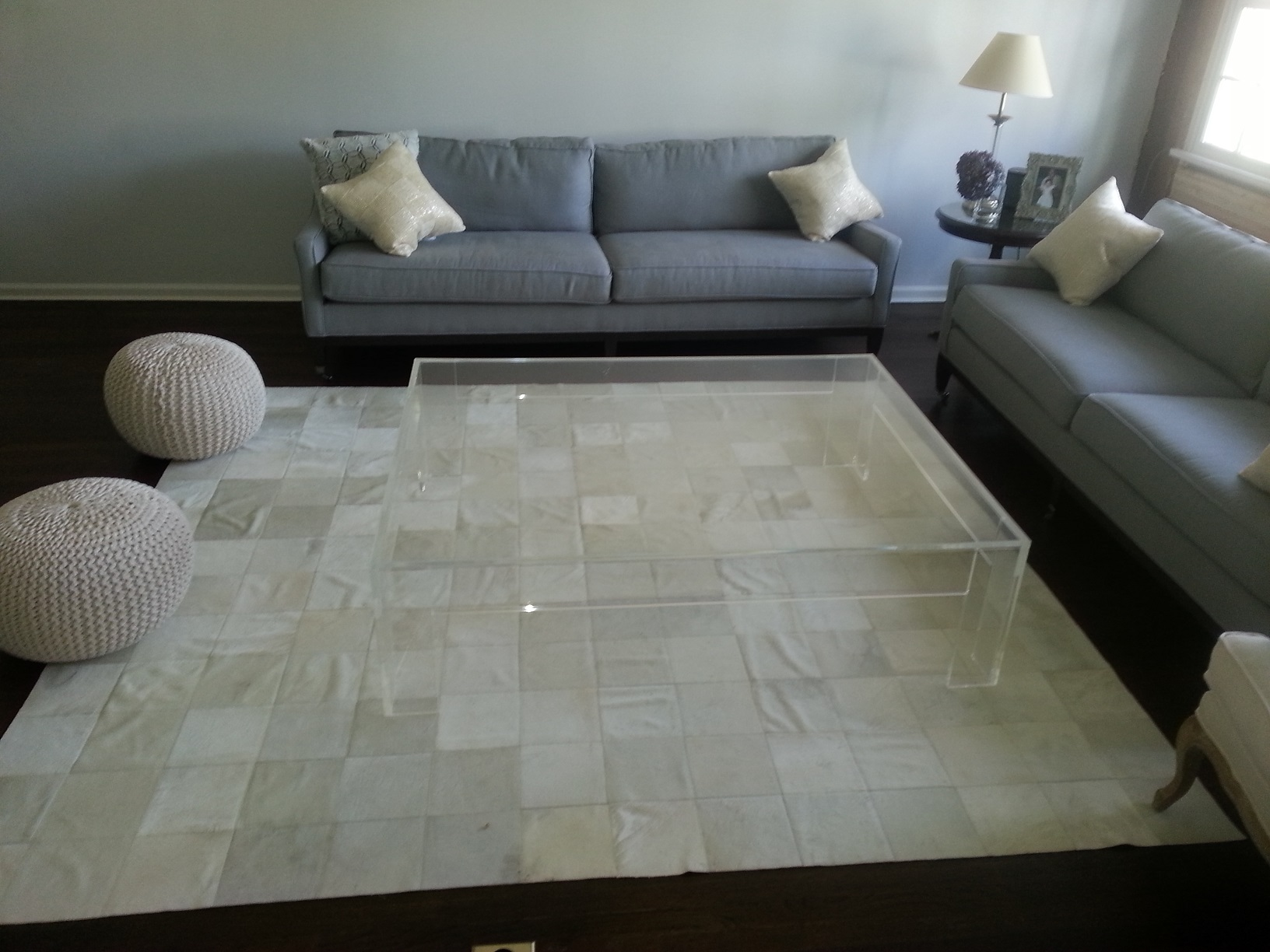Coffee table_acrylic_Lucite_flange_ large_50 inch sq