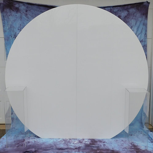 6 foot Acrylic round back drop - black or white