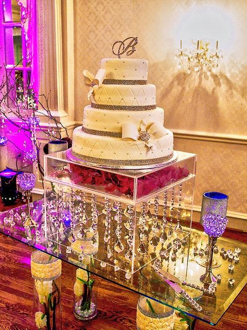 "Cake Stand - 18""cube , modular top, box base - all acrylic"