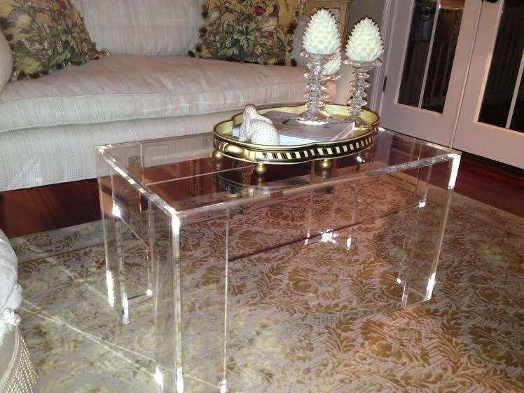 Coffee table_acrylic_Lucite_flange_rectangle_48 x 24 tall