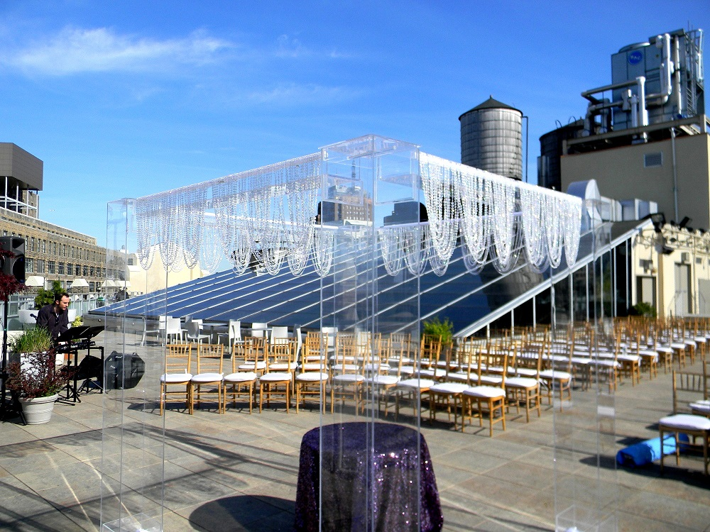Tribecca rooftop-chuppah-crystal-valance-roof top view