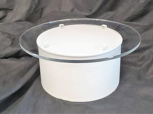 "Cake Stand - 16"" round acrylic top on 12"" dia white base"