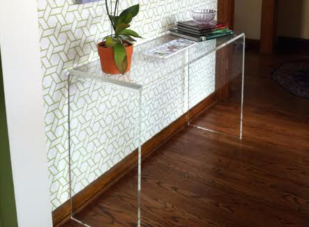 Acrylic Waterfall Style Console Table