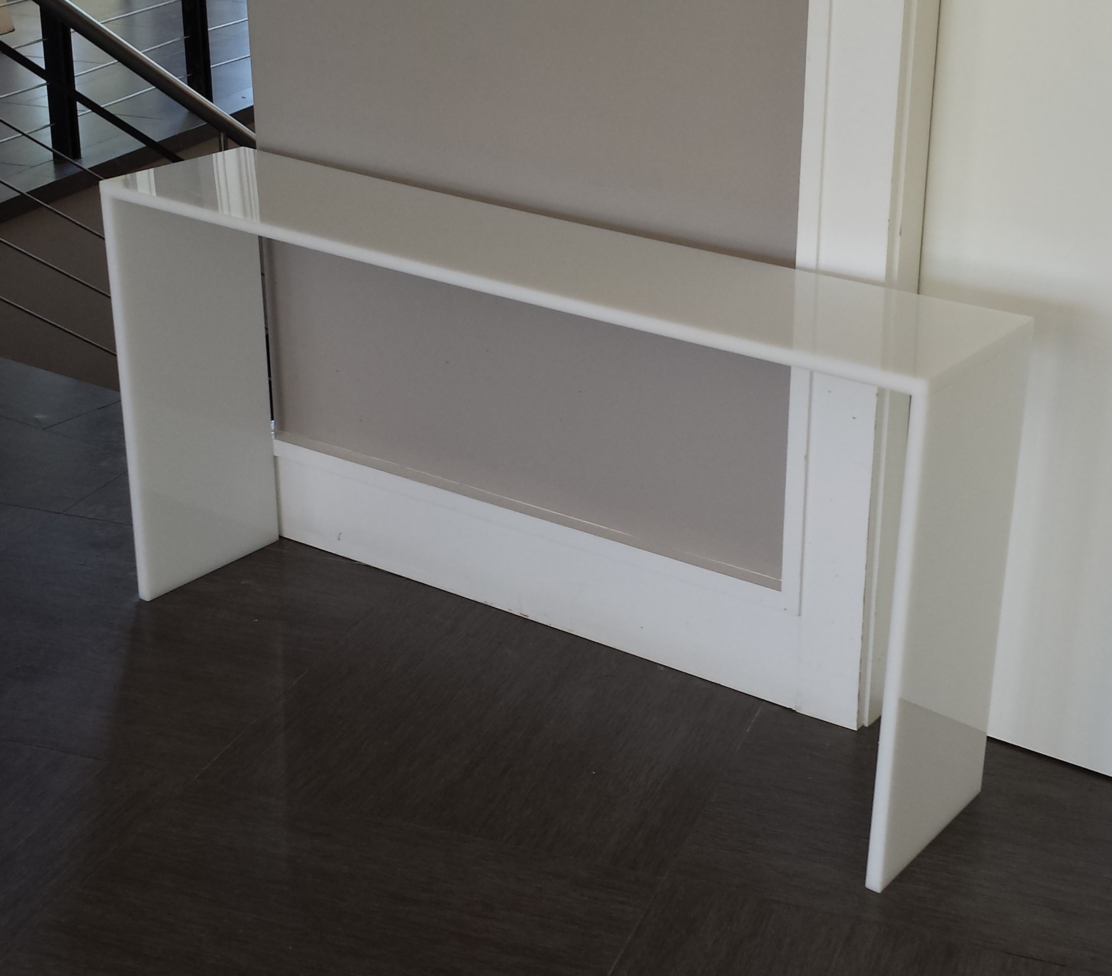 White Acrylic Straight Edge Console Table