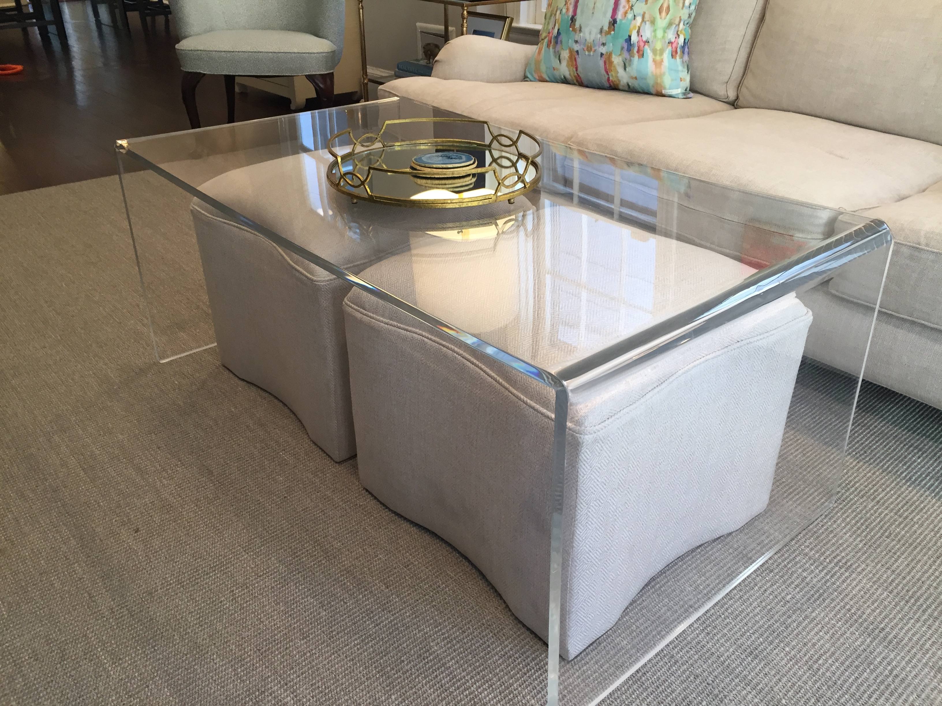 waterfall edge acrylic coffee table