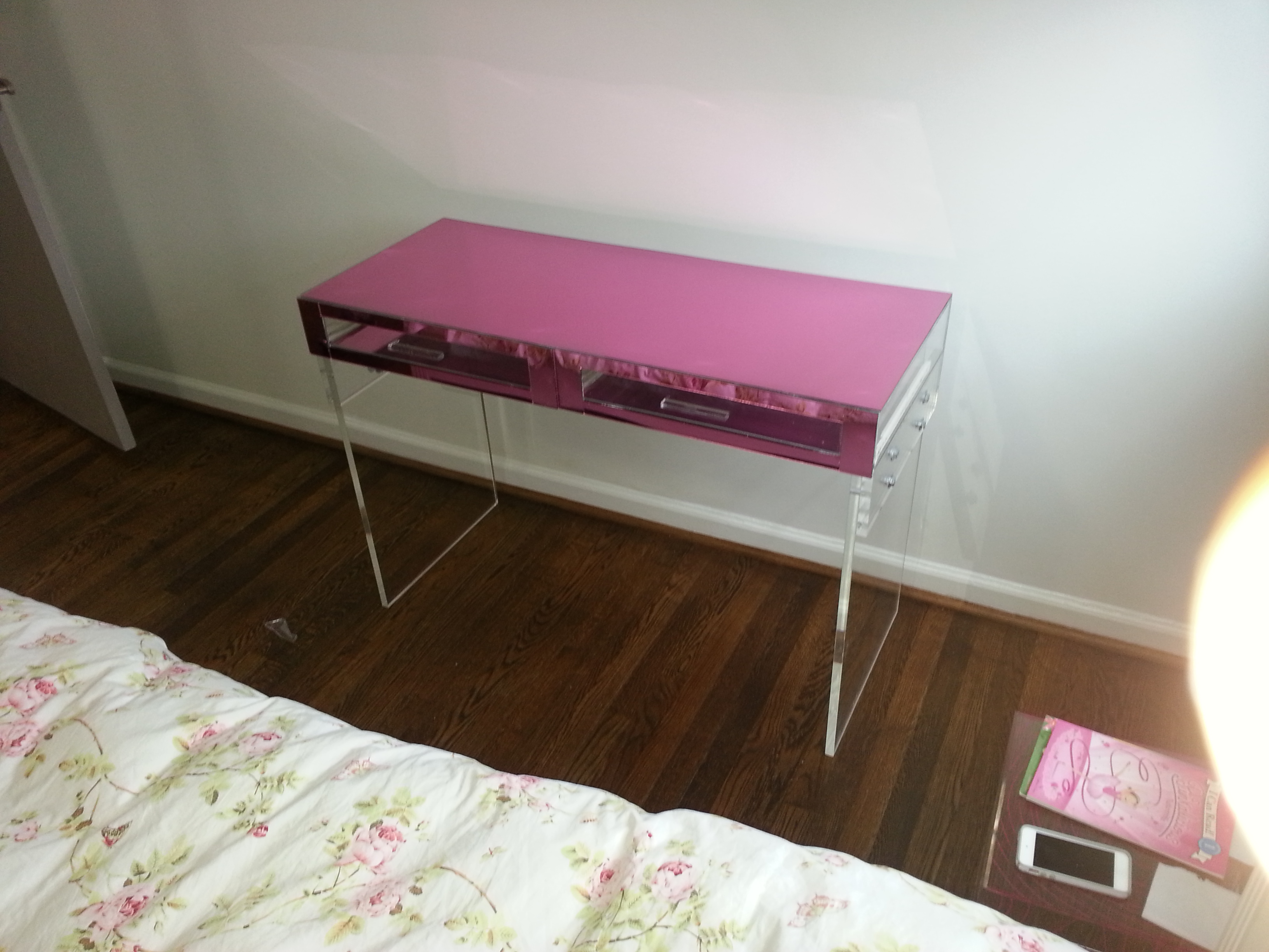 Pink Mirrored Acrylic Vanity/Desk