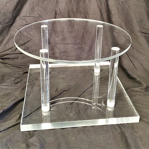 "Cake Stand - 12"" round top on clear base - 8"" high"