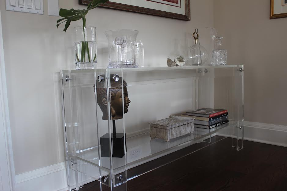 "Acrylic ""Button Line"" Console Table with Shelf"