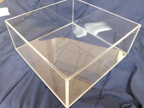 "Cake Stand - 14"" sq x 5"" high clear acrylic - open bottom"