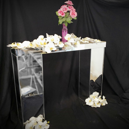 "Centerpiece - Mirror table bridge, modular design 32""H x 36""L"