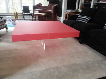 Colored Acrylic Coffee Table with Clear X Base