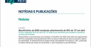 Beneficiários do INSS receberão adiantamento de 50% do 13º em abril