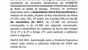 Assembleia Extraordinária - Ação contra cobrança indevida de ICMS nas contas de luz