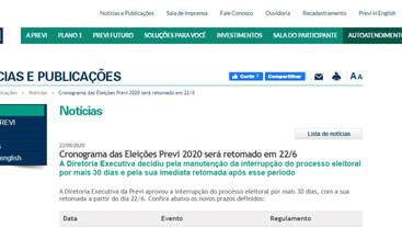 Cronograma das Eleições Previ 2020 será retomado em 22/JUNHO