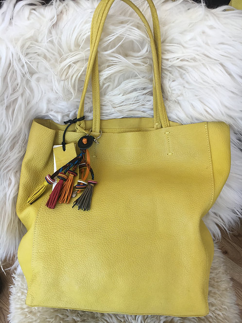 Ella Lemon Open Tote with Tassle