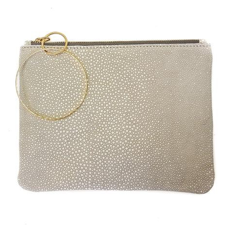 Stingray Cream Leather Clutch
