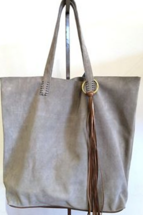 Dove Grey Large Suede Tote