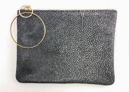 Stingray Dark Grey Leather Clutch