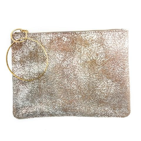 Distressed Metallic Rose Leather Clutch
