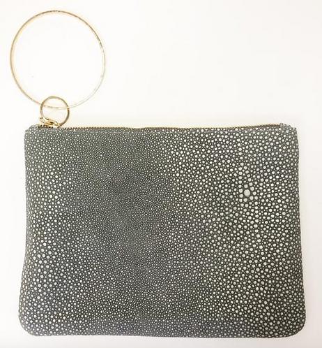 Stingray Grey Leather Clutch