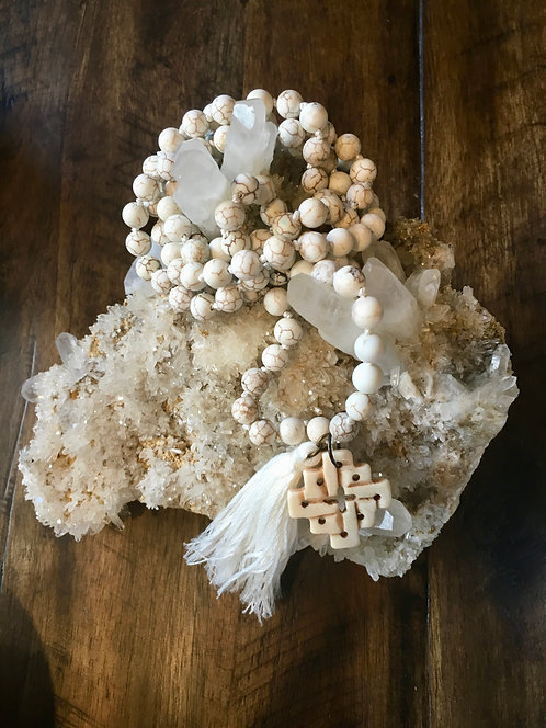 White Turquoise Goddess Mala