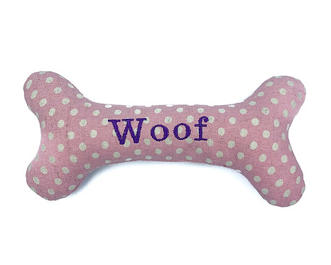 Personalised Dog Squeaky Toy - Pink Polkadot