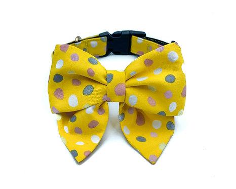 Yellow Bubbles Blair Bow Collar