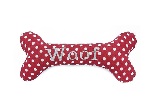 Personalised Dog Squeaky Toy - Red Polkadot